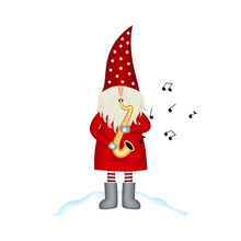 Christmas Vector Card Santa Claus On White Background With Saxophone