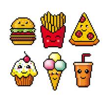 Fast Food. Pixel Art. Cartoon Icons. Vector Illustration Isolated On White Background. Logo Set.