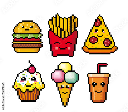 Fast Food Pixel Art Cartoon Icons Vector Illustration