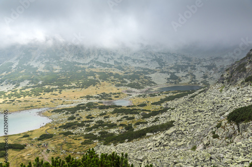 Staande foto Donkergrijs Amazing Landscape with fog over Musalenski lakes, Rila mountain, Bulgaria