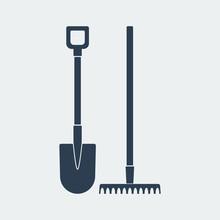 Shovel And Rake Icon.Vector De...