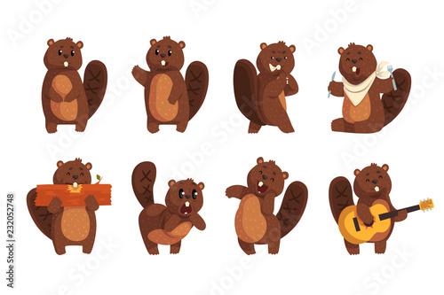 Cute funny character beaver in different actions set of cartoon vector Illustrat Wallpaper Mural