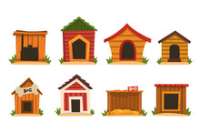 Wooden Dog House Set, Dogs Ken...