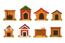 Wooden Dog House Set, Dogs Kennel Cartoon Vector Illustrations