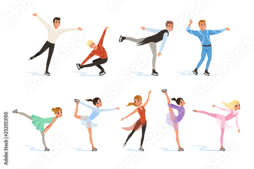 Figure skating set, professional athletes skating in motion on ice vector Illust Wallpaper Mural