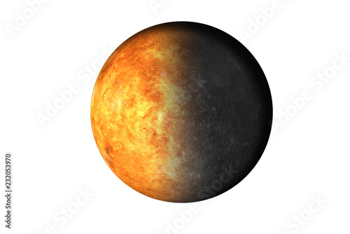 Deurstickers Nasa Half planet Mercury with half Venus planet of solar system isolated on white background. Death of the planet. Elements of this image were furnished by NASA.