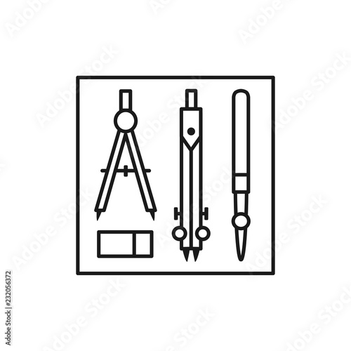 Black & white vector illustration of drafting kit with