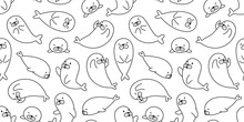 Seal Seamless Pattern Vector Walrus Sea Lion Polar Bear Isolated Wallpaper