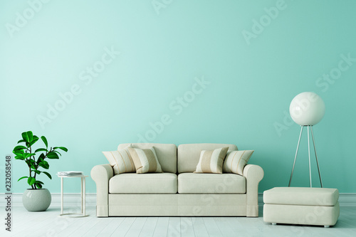 Sofa In Altbau Wohnzimmer Mit Freier Gruner Wand Buy This Stock