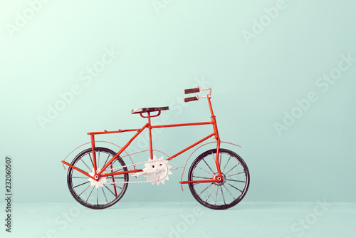 Recess Fitting Bicycle Vintage bicycle on blue background