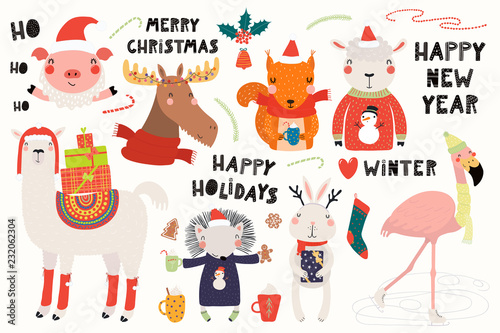 Printed kitchen splashbacks Illustrations Big set with cute animals doing winter, Christmas activities, typography. Isolated objects on white background. Hand drawn vector illustration. Scandinavian style flat design. Concept for kids print.