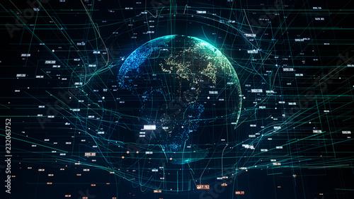Fototapeta global network illustration symbolizing global IT obraz na płótnie