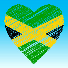 Jamaica Flag, Heart Shape, Gru...