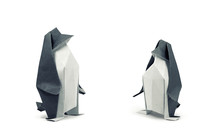 Two Paper Penguins Isolated On White, Clipping Path Included