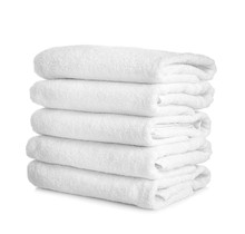 Stack Of Clean Towels On White...