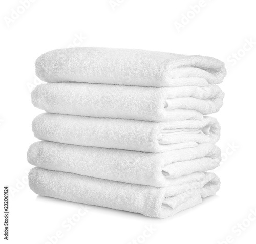 Fotografering Stack of clean towels on white background