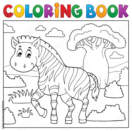 Tuinposter Voor kinderen Coloring book African nature topic 4