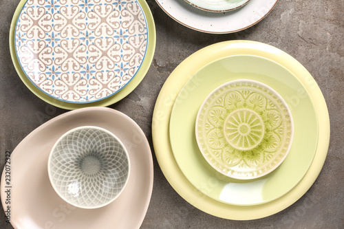 Fotografie, Obraz  Set of clean color plates on table