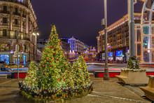 Night View Of Tverskaya Street...