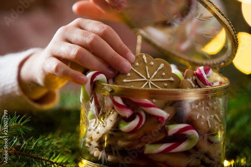 Cute little girl taking candies and gingerbread from glass jar and eating Poster Mural XXL