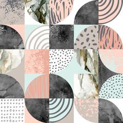 Fototapeta Wzory geometryczne Modern seamless geometric pattern: semicircles, circles, squares, grunge, marble, watercolor textures, doodles.