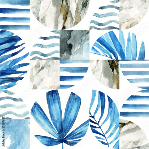 Photo sur Aluminium Empreintes Graphiques Abstract geometric seamless pattern: tropical leaves, waves, stripes, semicircles, circles, squares, grunge, grained, paper, marble, watercolor textures, doodles.