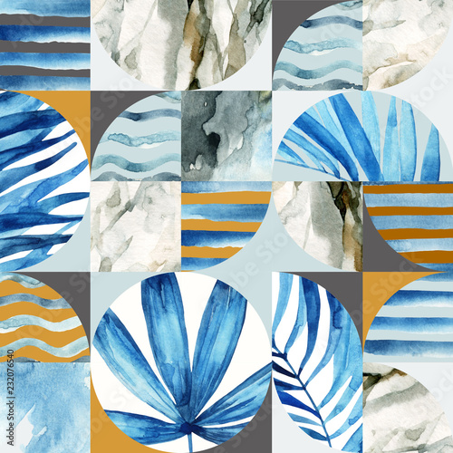 In de dag Grafische Prints Abstract geometric seamless pattern: tropical leaves, waves, stripes, semicircles, circles, squares, grunge, grained, paper, marble, watercolor textures, doodles.