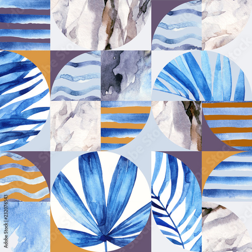 La pose en embrasure Empreintes Graphiques Abstract geometric seamless pattern: tropical leaves, waves, stripes, semicircles, circles, squares, grunge, grained, paper, marble, watercolor textures, doodles.