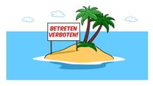Private Insel Mit Verbot Schild