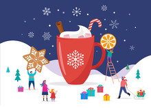 Merry Christmas, Winter Scene With A Big Cocoa Mug And Small People, Young Men And Women, Families Having Fun In Snow, Skiing, Snowboarding, Sledding, Ice Skating