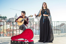 Beautiful Fado Singer Performi...