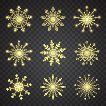 Vector Snowflake Set. 9 Yellow Snowflakes On Black Background