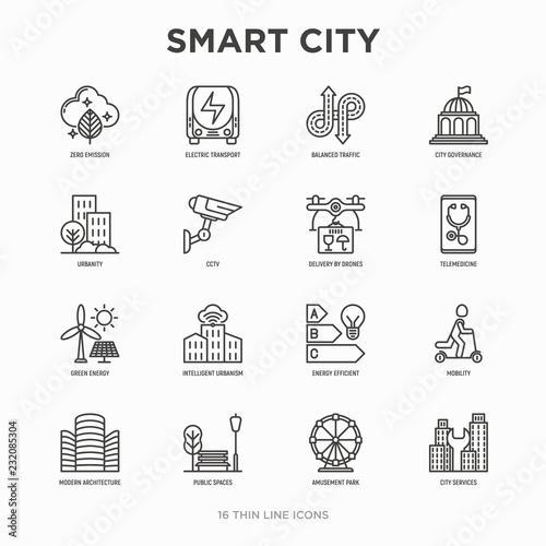 Obraz Smart city thin line icons set: green energy, intelligent urbanism, efficient mobility, zero emission, electric transport, balanced traffic, public spaces, CCTV, telemedicine. Vector illustration. - fototapety do salonu