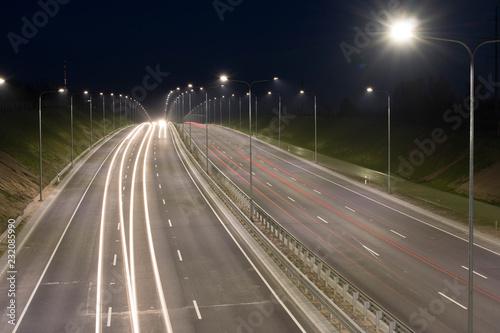 Foto op Plexiglas Nacht snelweg light road traffic