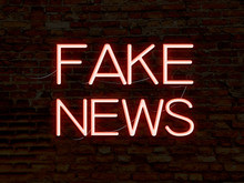 Fake News Red Neon Sign. Backg...