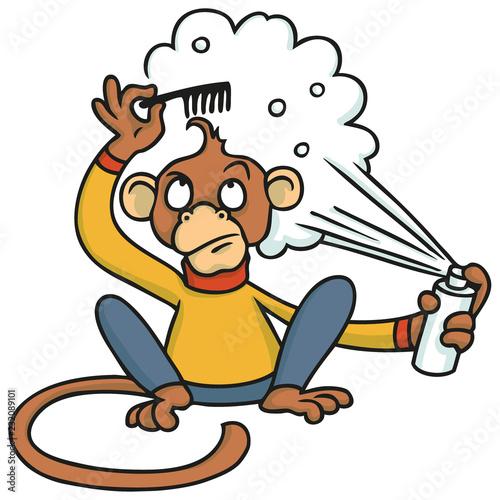 Affe probiert sich als Friseur mit Haarspray und Kamm