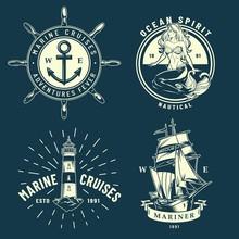 Vintage Maritime And Sea Emblems Set