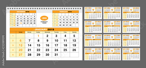 Calendar Pages To Print 2019.Calendar Template For 2019 Years Set Of 12 Calendar Pages Vector