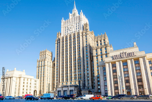 Spoed Foto op Canvas Aziatische Plekken Moscow. The building of the foreign Ministry. The building of the Ministry of foreign Affairs is one of the seven buildings included in the list of