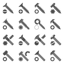 Black Icons - Screws & Bolts