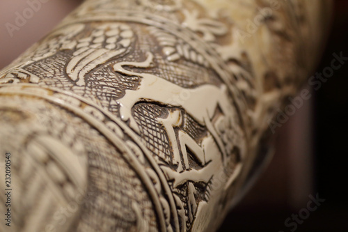 Foto op Canvas Olifant A close view of the the Gaston IV, Viscount of Béarn's ivory hunting horn, also called olifant, carved with an image of a lion eating some corn plants