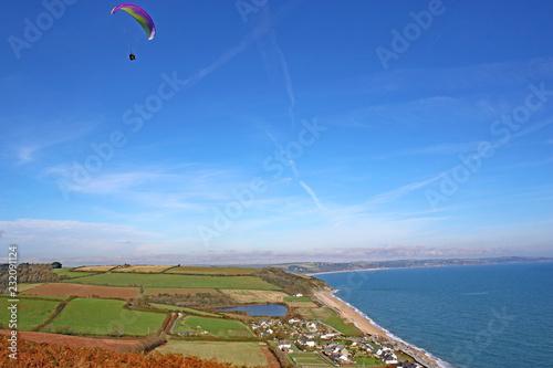 Paraglider above Beesands, Devon