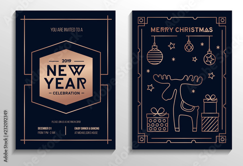 Fototapeta New Year Party Invitation Cards Set With Rose Gold Geometric Design And Navy Blue Background