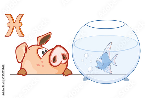 Illustration of a Cute Pig. Astrological Sign in the Zodiac Fish Pisces. Cartoon Character