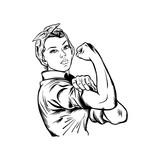 Fototapeta Młodzieżowe - Rosie the riveter vector illustration - International women's day