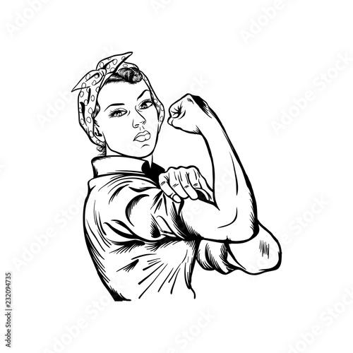 Photo Rosie the riveter vector illustration - International women's day