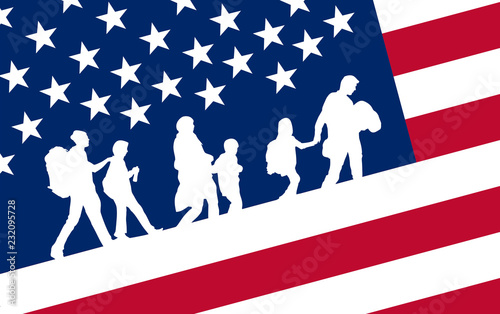 Photo illustration of wave usa immigration B