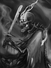 Undead Skeleton Creature In A Cloak With A Broken Sword And Magic Light Swirls - Digital Fantasy Painting