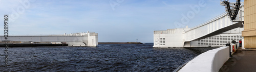 Deurstickers Dam Panorama of a hydrolock of a dam of St. Petersburg