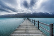 New Zealand, South Island, Glenorchy, Lake Wakatipu with empty jetty